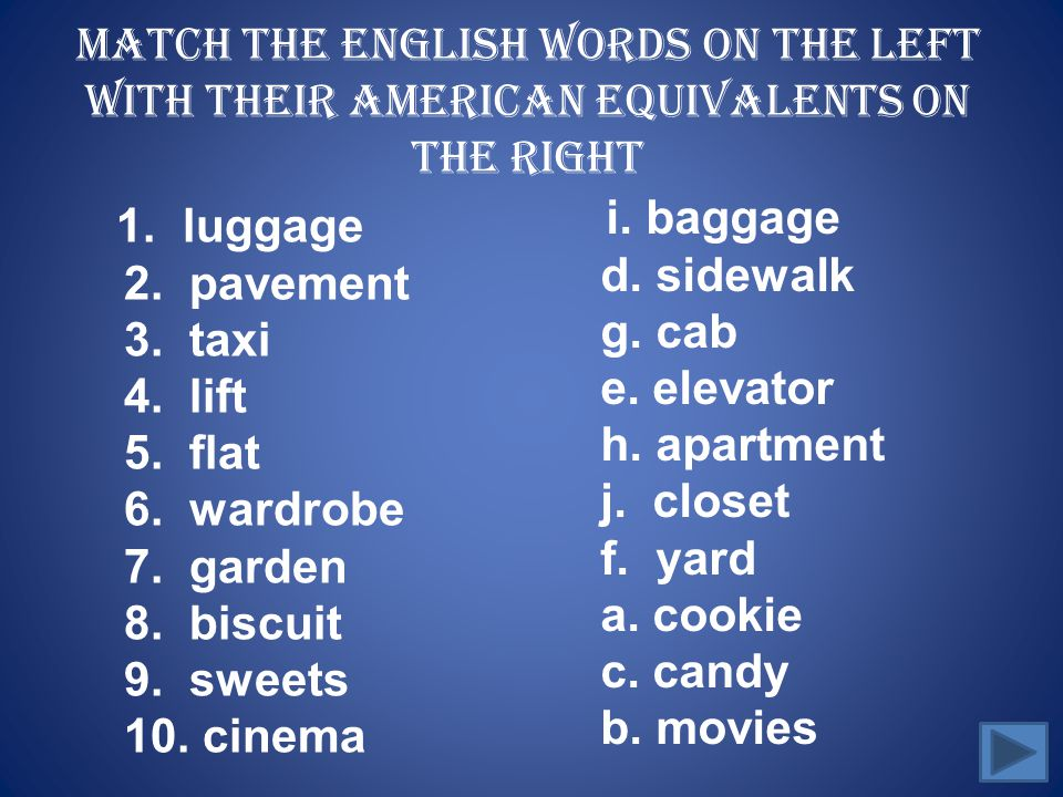 Match the English words on the left with their American equivalents on the right
