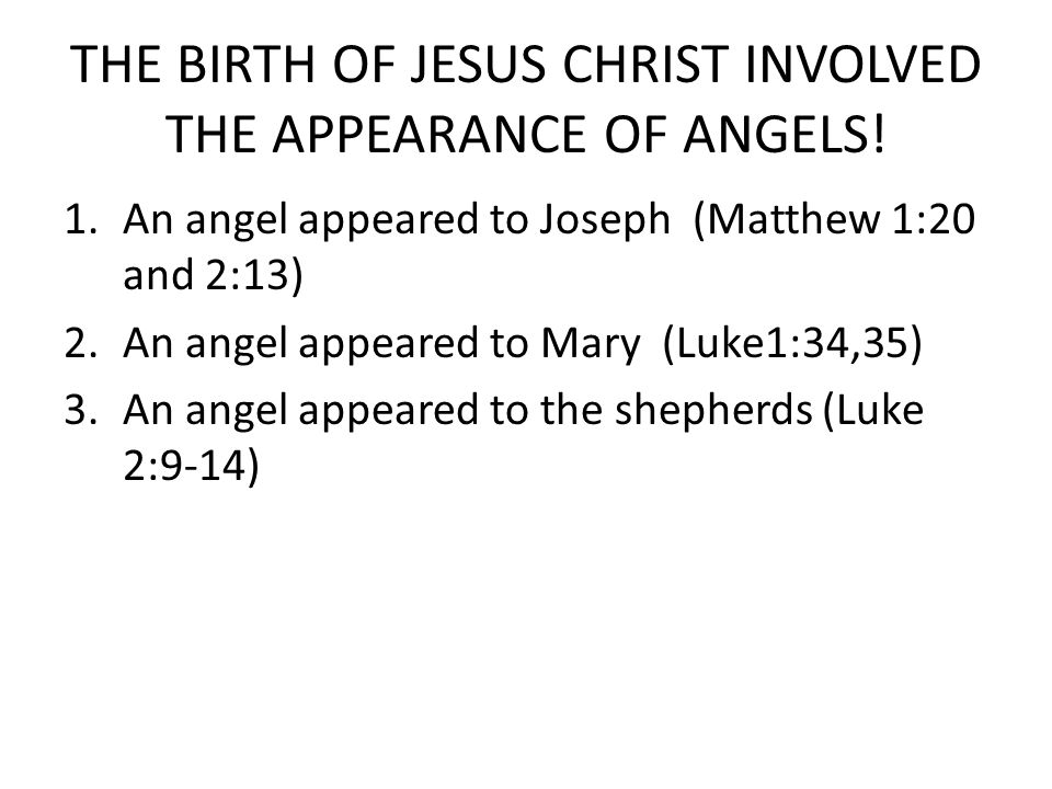 THE BIRTH OF JESUS CHRIST INVOLVED THE APPEARANCE OF ANGELS!