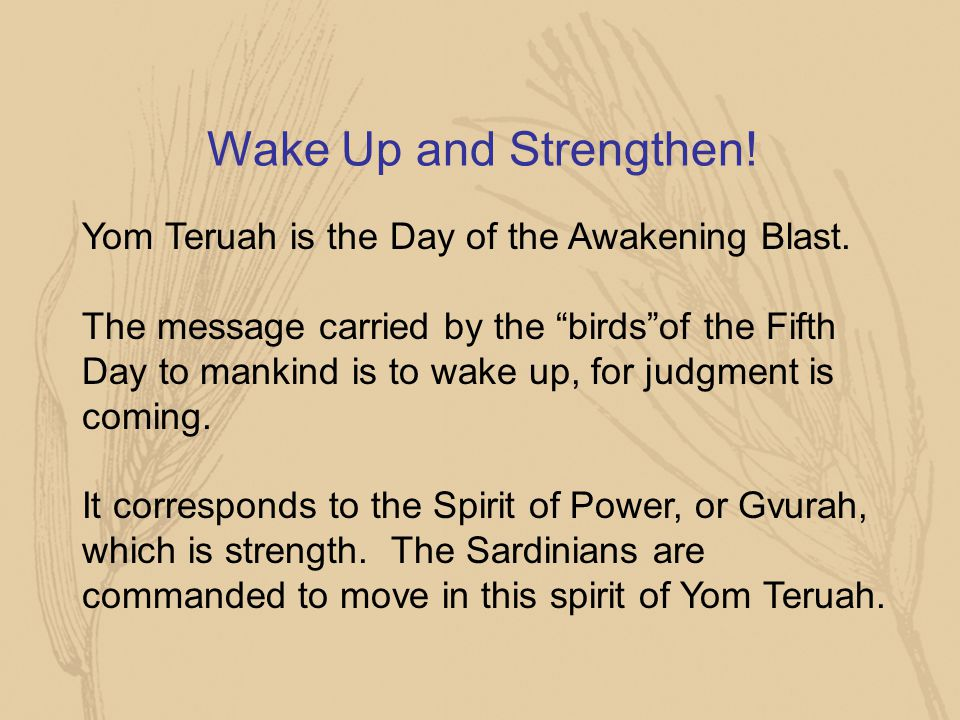Wake Up and Strengthen! Yom Teruah is the Day of the Awakening Blast.