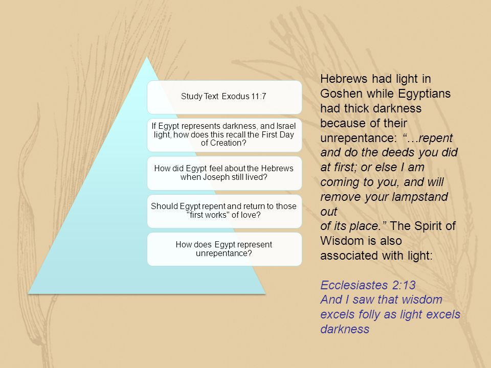 Hebrews had light in Goshen while Egyptians