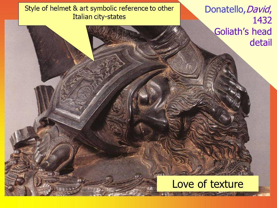 Donatello,David, 1432 Goliath's head detail