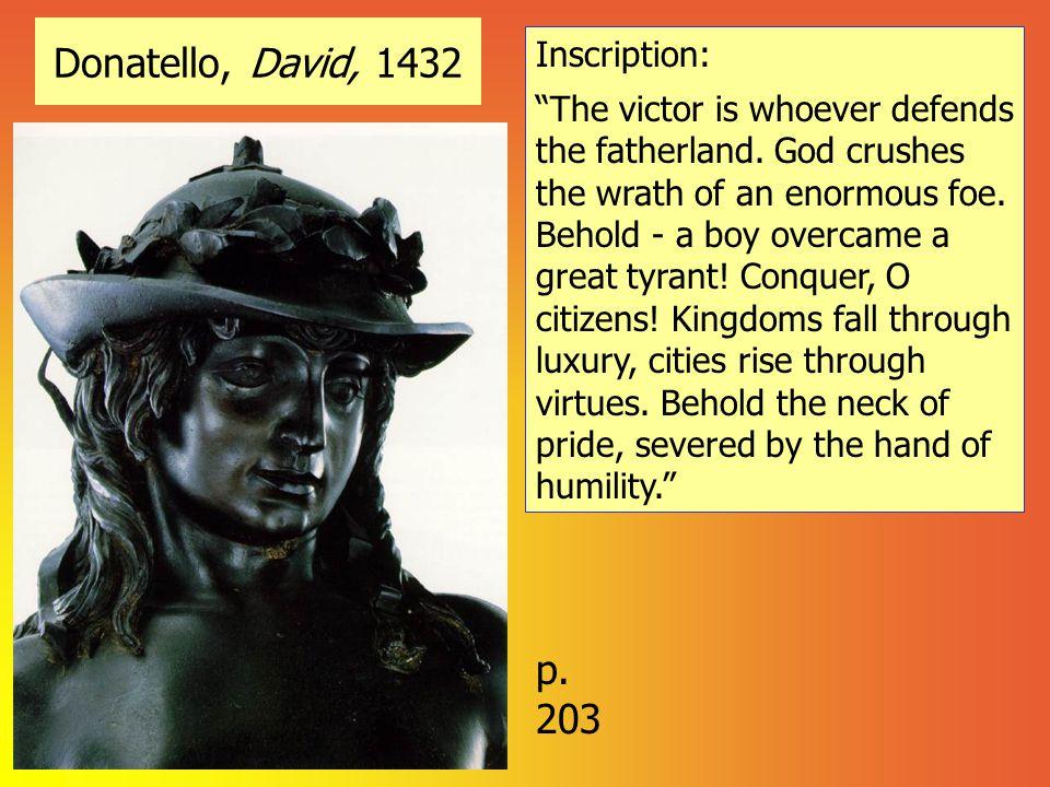 Donatello, David, 1432 p. 203 Inscription:
