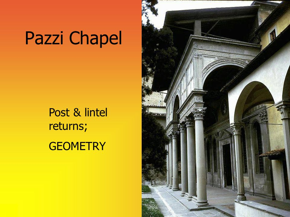 Pazzi Chapel Post & lintel returns; GEOMETRY