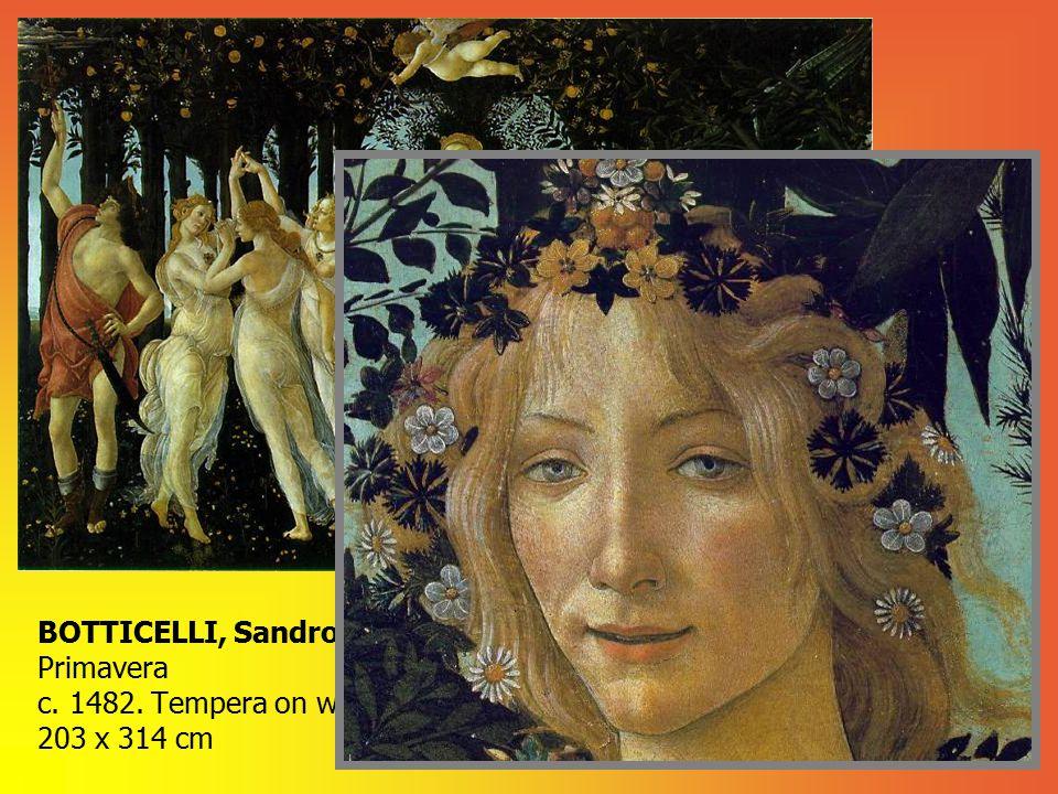 BOTTICELLI, Sandro Primavera c. 1482. Tempera on wood 203 x 314 cm