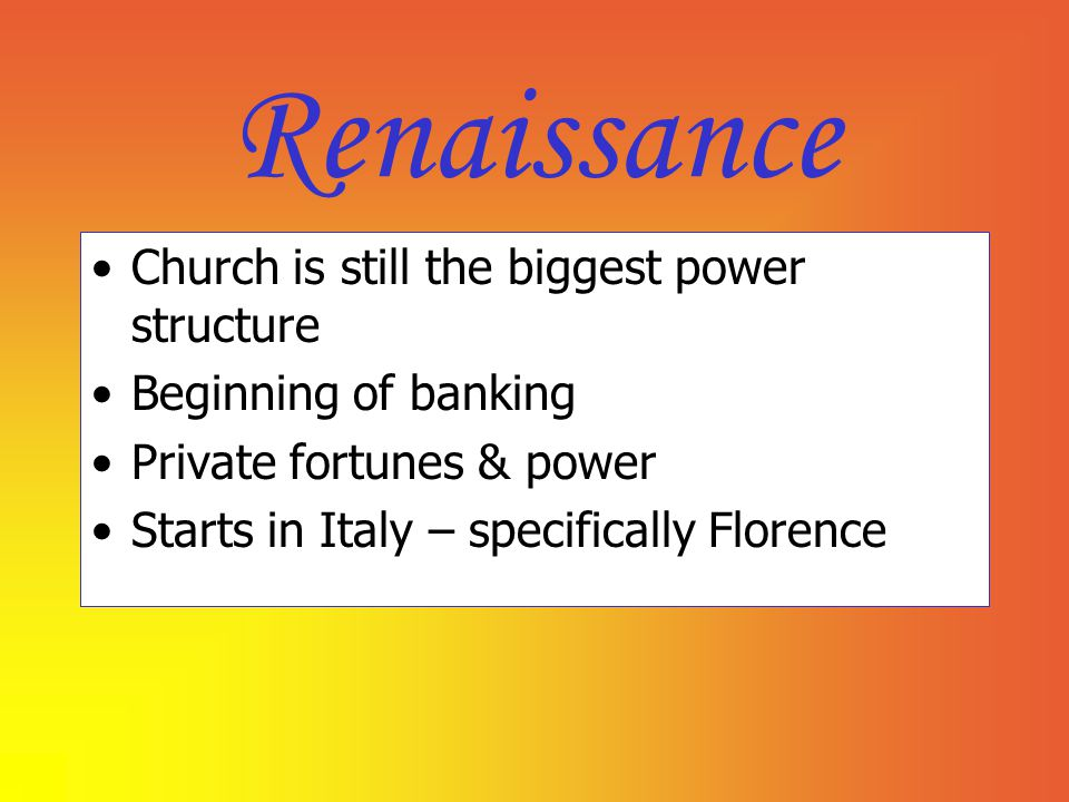 Renaissance Church is still the biggest power structure