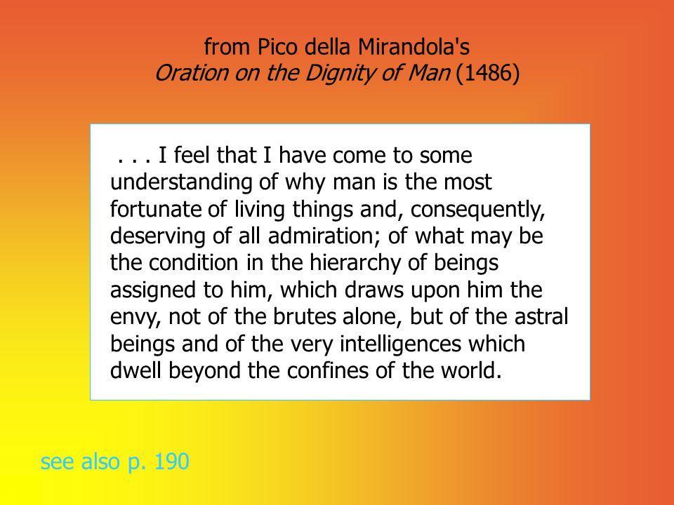 from Pico della Mirandola s Oration on the Dignity of Man (1486)