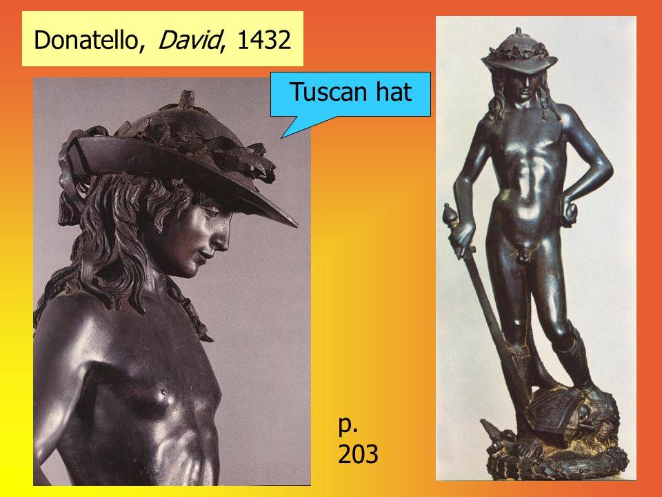 Donatello, David, 1432 Tuscan hat p. 203