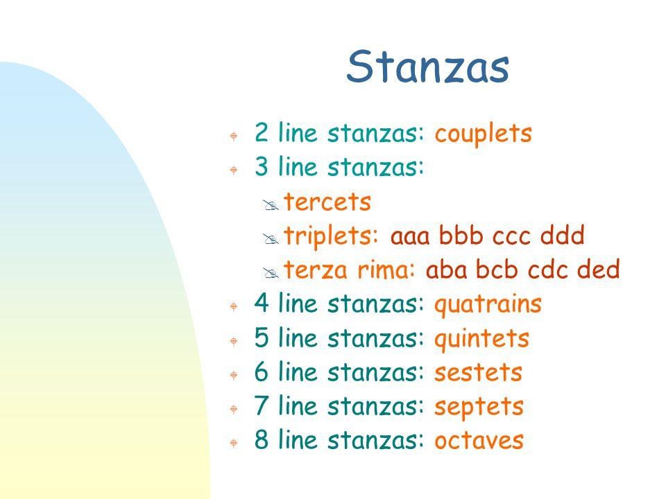 Stanzas 2 line stanzas: couplets 3 line stanzas: tercets