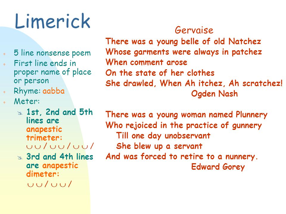 Limerick Gervaise There was a young belle of old Natchez