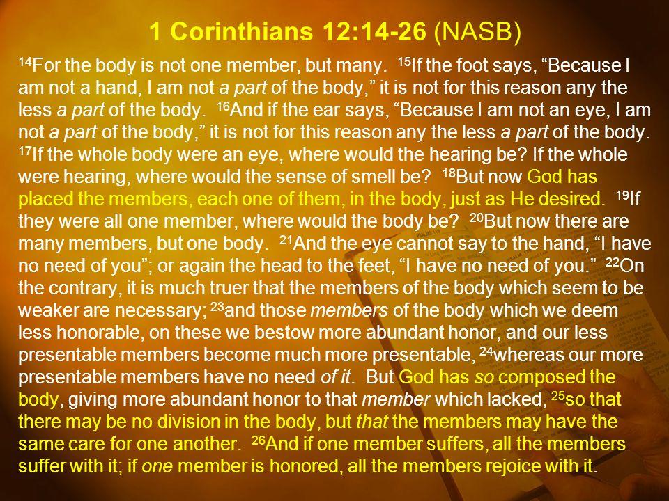 1 Corinthians 12:14-26 (NASB)