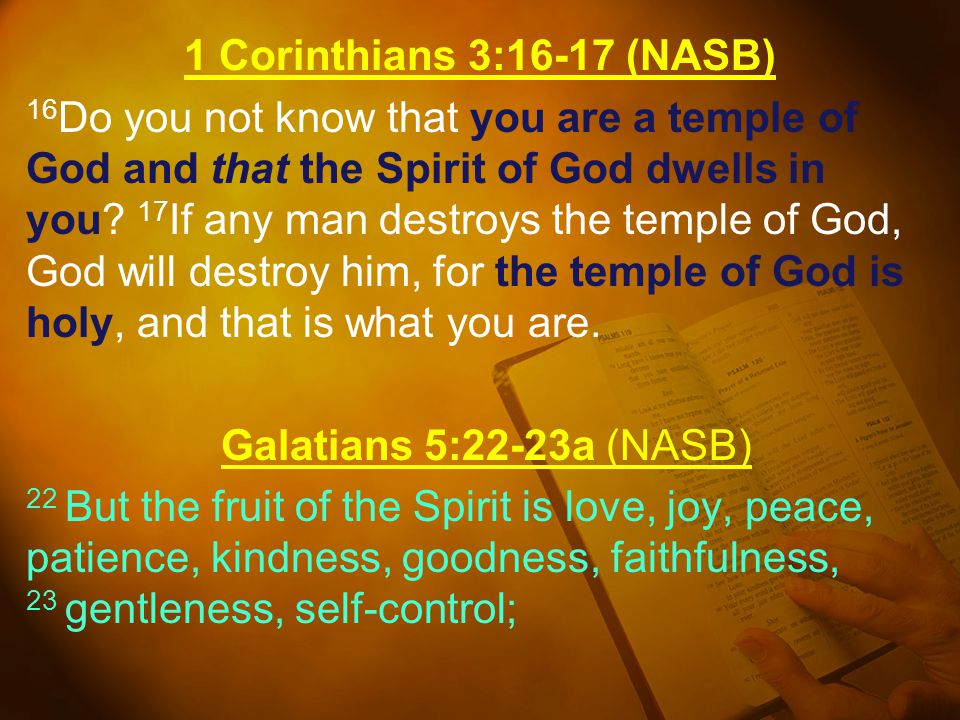 1 Corinthians 3:16-17 (NASB) 16Do you not know that you are a temple of God and that the Spirit of God dwells in you.