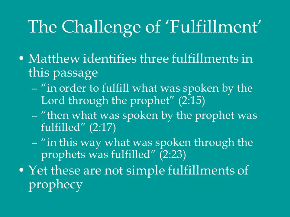 The Challenge of 'Fulfillment'