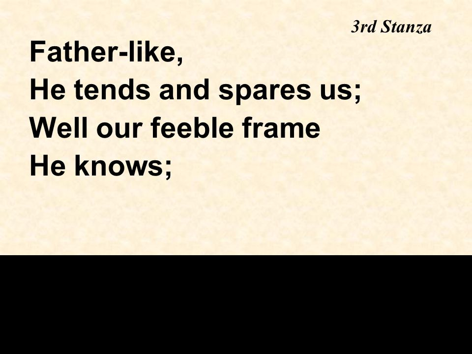 Father-like, He tends and spares us; Well our feeble frame He knows;