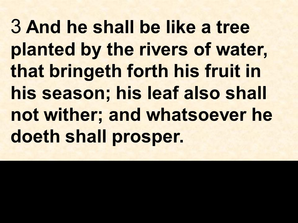 3 And he shall be like a tree planted by the rivers of water, that bringeth forth his fruit in his season; his leaf also shall not wither; and whatsoever he doeth shall prosper.