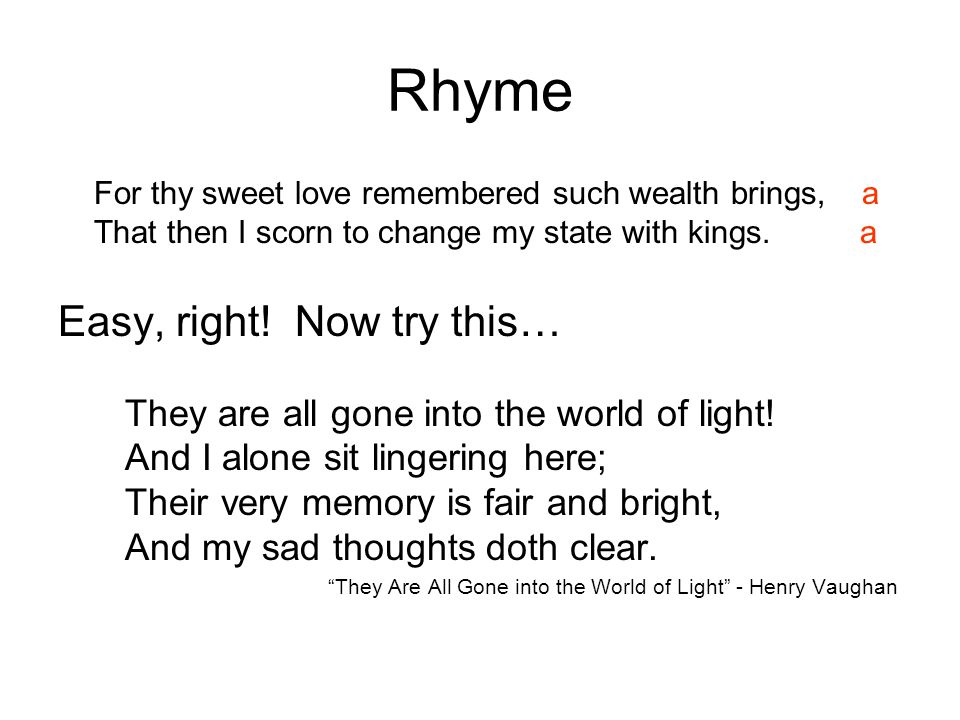 Rhyme Easy, right! Now try this…