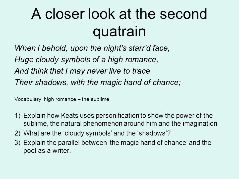 A closer look at the second quatrain
