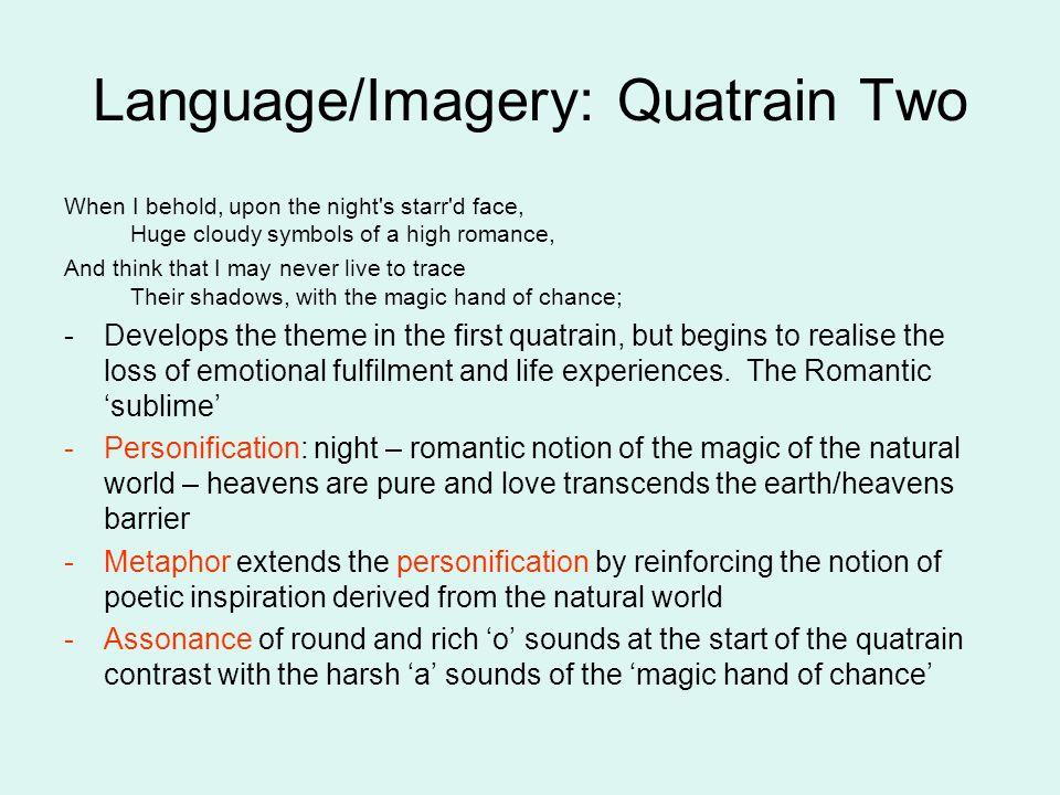 Language/Imagery: Quatrain Two
