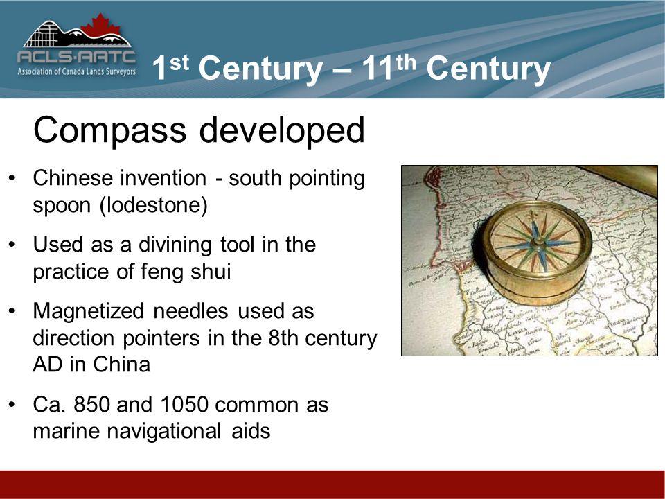 Compass developed 1st Century – 11th Century