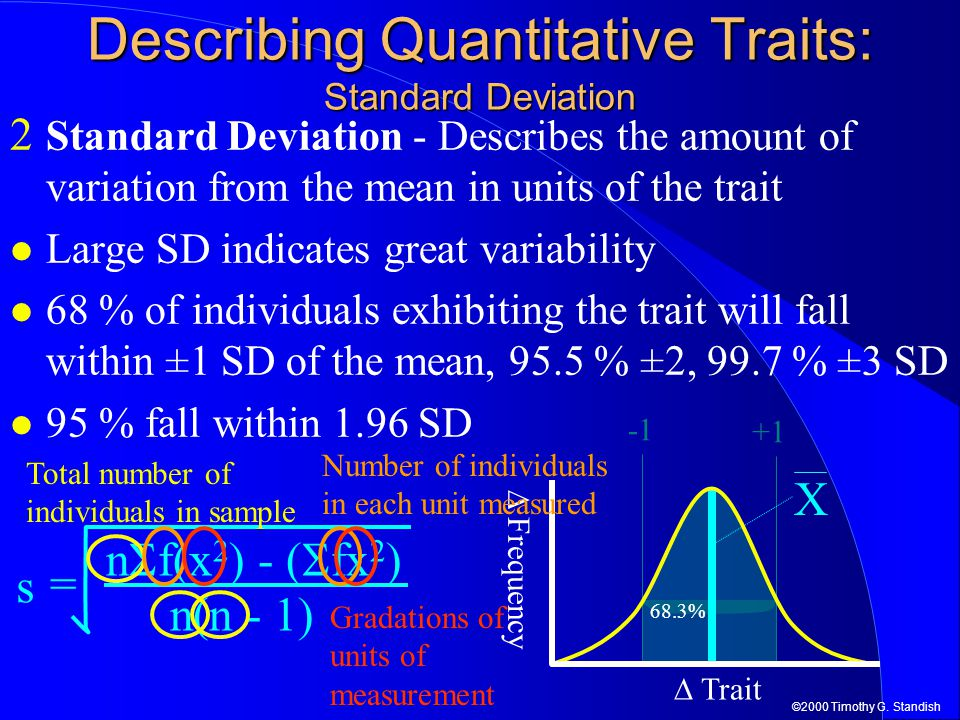 Describing Quantitative Traits: Standard Deviation