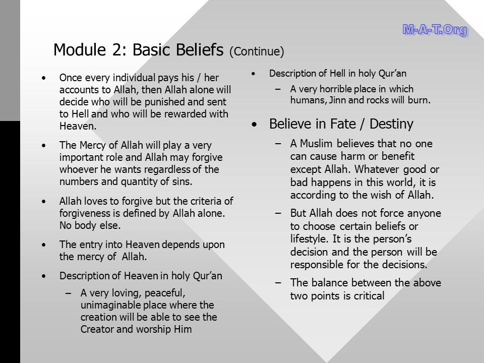 Module 2: Basic Beliefs (Continue)