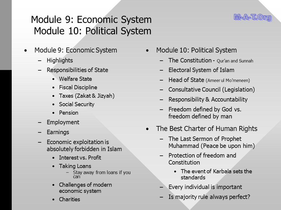 Module 9: Economic System Module 10: Political System