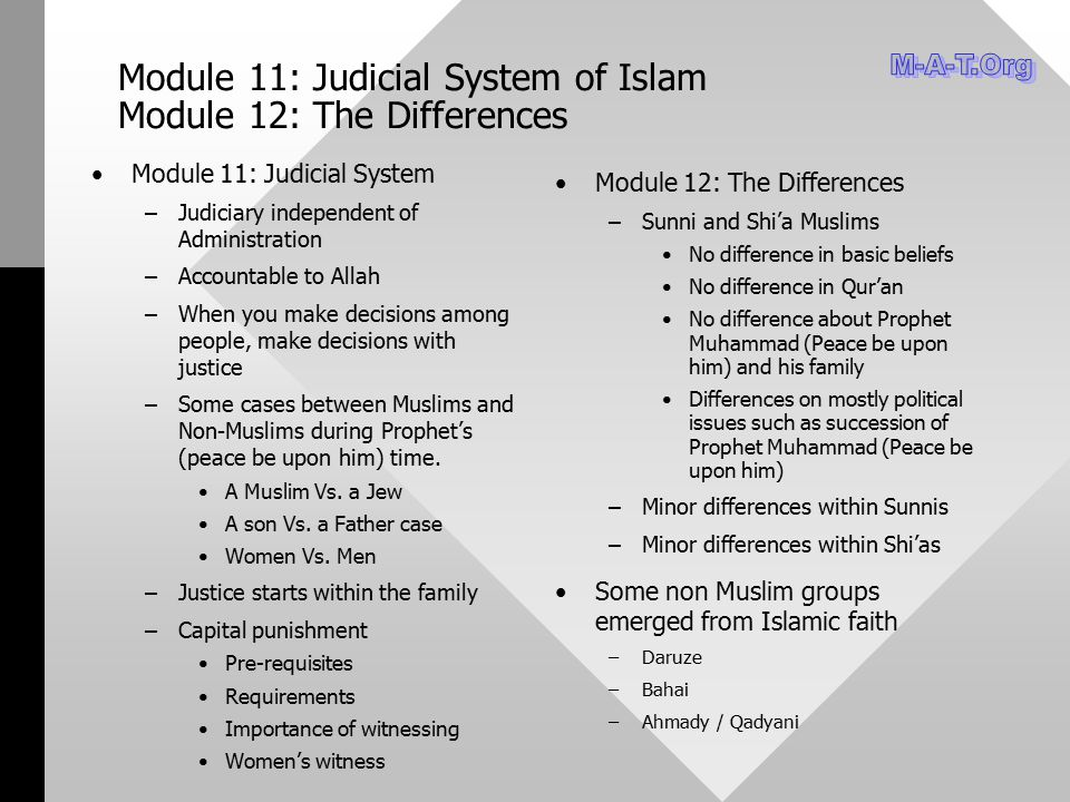 Module 11: Judicial System of Islam Module 12: The Differences