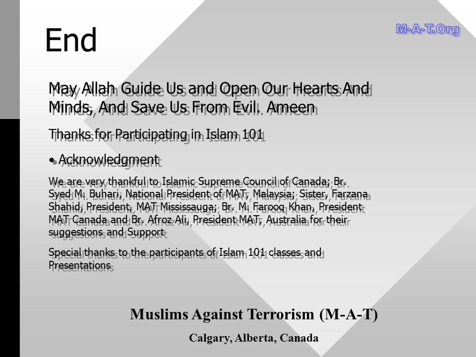 Muslims Against Terrorism (M-A-T) Calgary, Alberta, Canada