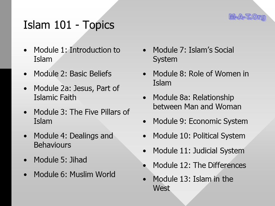Islam 101 - Topics M-A-T.Org Module 1: Introduction to Islam