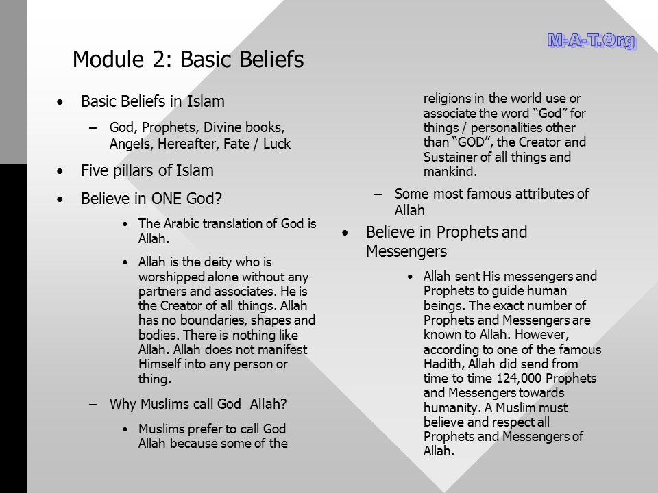 Module 2: Basic Beliefs M-A-T.Org Basic Beliefs in Islam