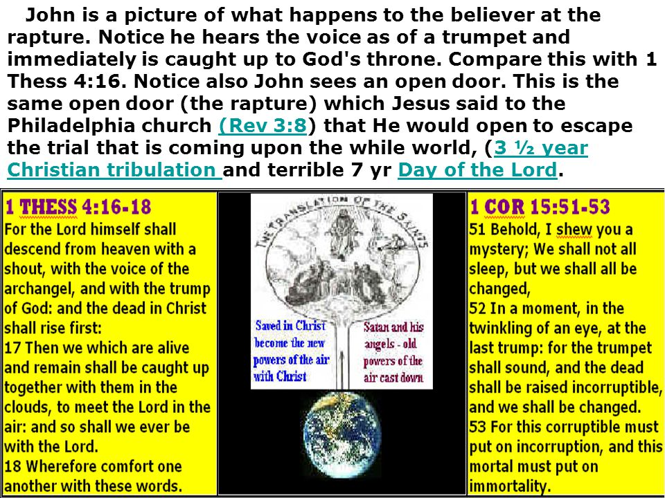 John is a picture of what happens to the believer at the rapture