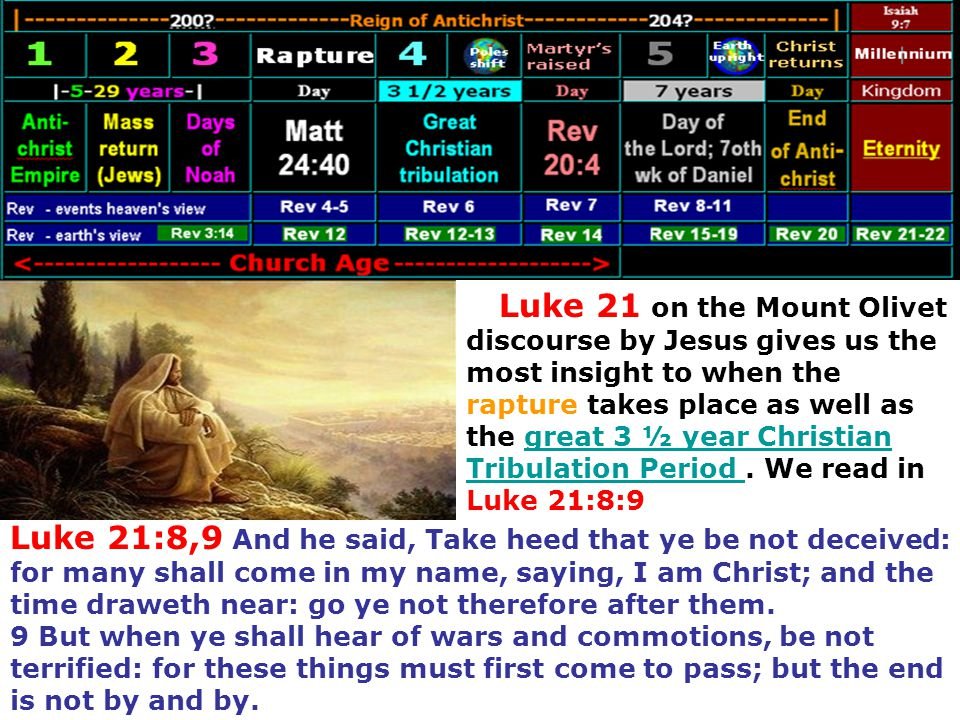 Luke 21 on the Mount Olivet discourse by Jesus gives us the most insight to when the rapture takes place as well as the great 3 ½ year Christian Tribulation Period . We read in Luke 21:8:9