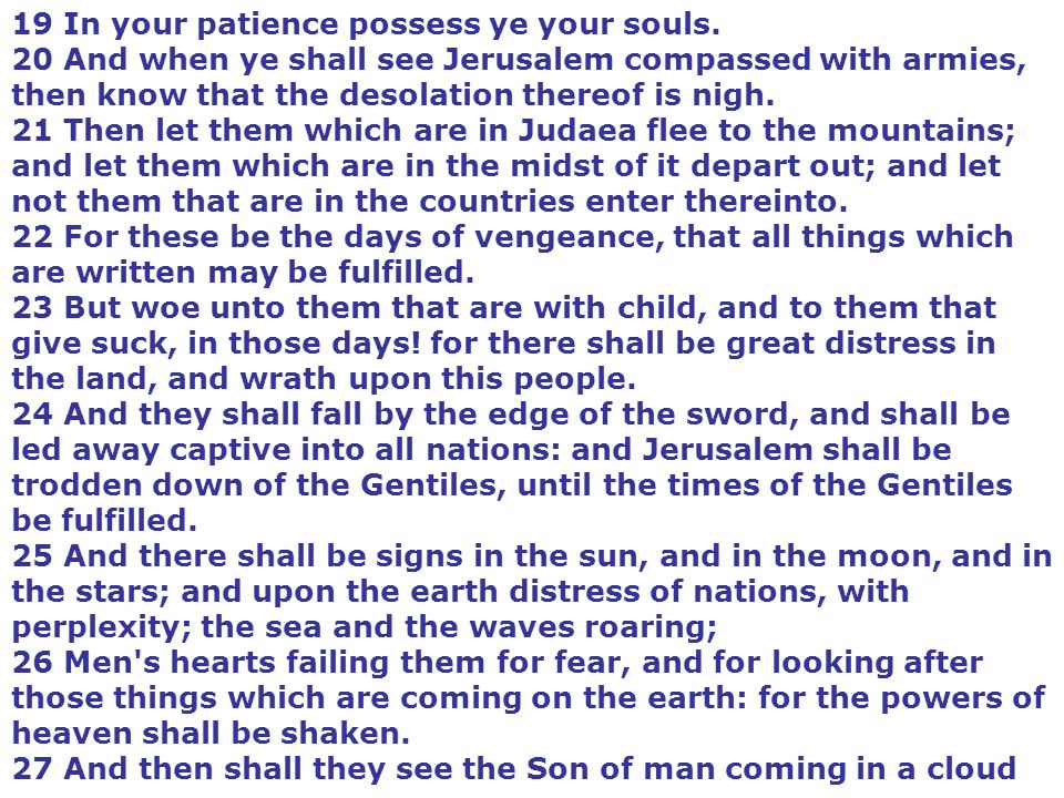 19 In your patience possess ye your souls.