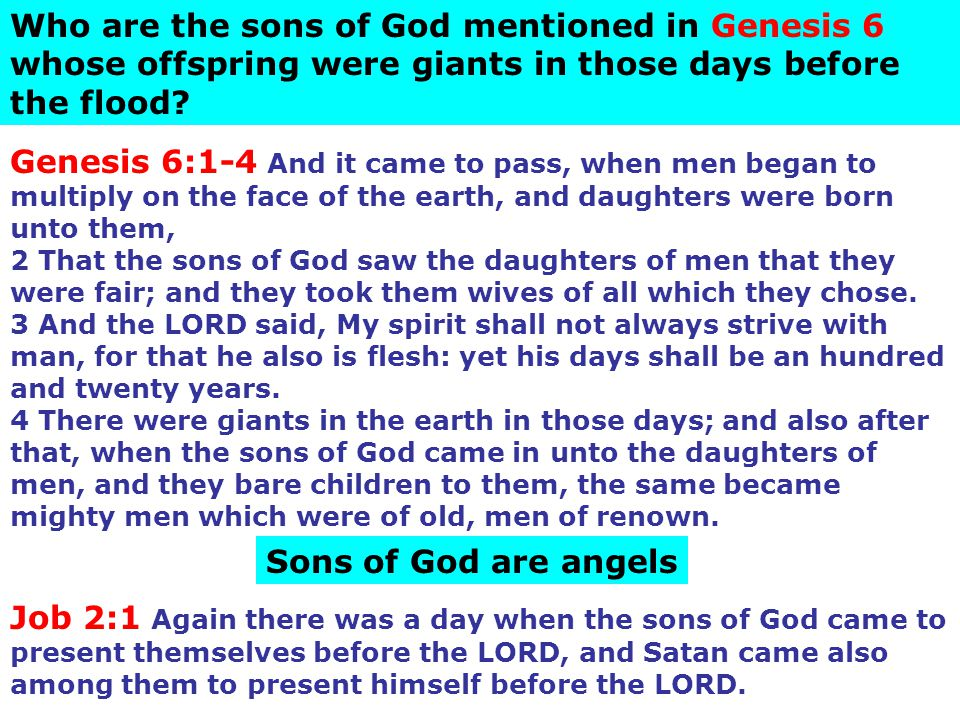 Who are the sons of God mentioned in Genesis 6 whose offspring were giants in those days before the flood