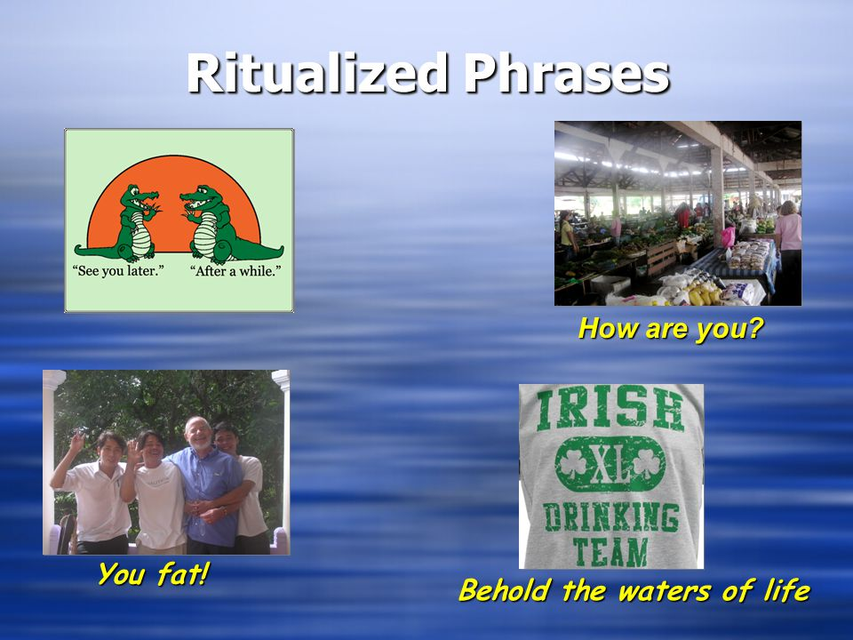 Ritualized Phrases How are you You fat! Behold the waters of life