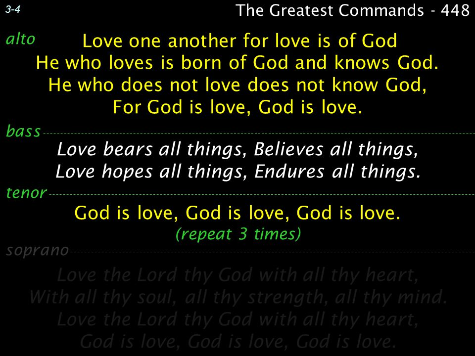 God is love, God is love, God is love. (repeat 3 times)