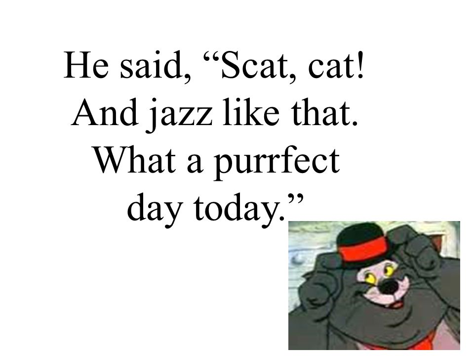 He said, Scat, cat! And jazz like that. What a purrfect day today.