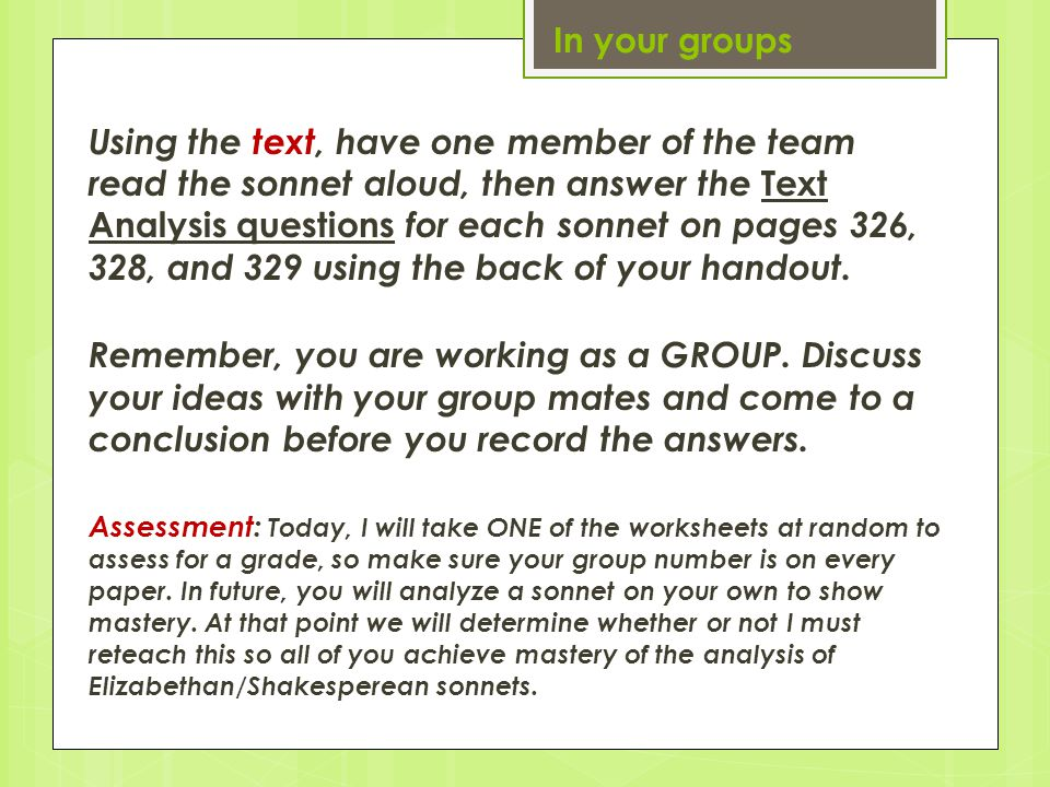 In your groups
