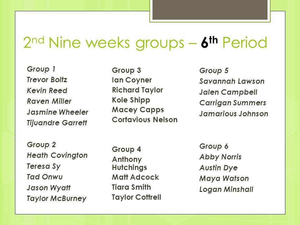 2nd Nine weeks groups – 6th Period