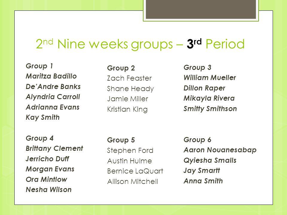 2nd Nine weeks groups – 3rd Period