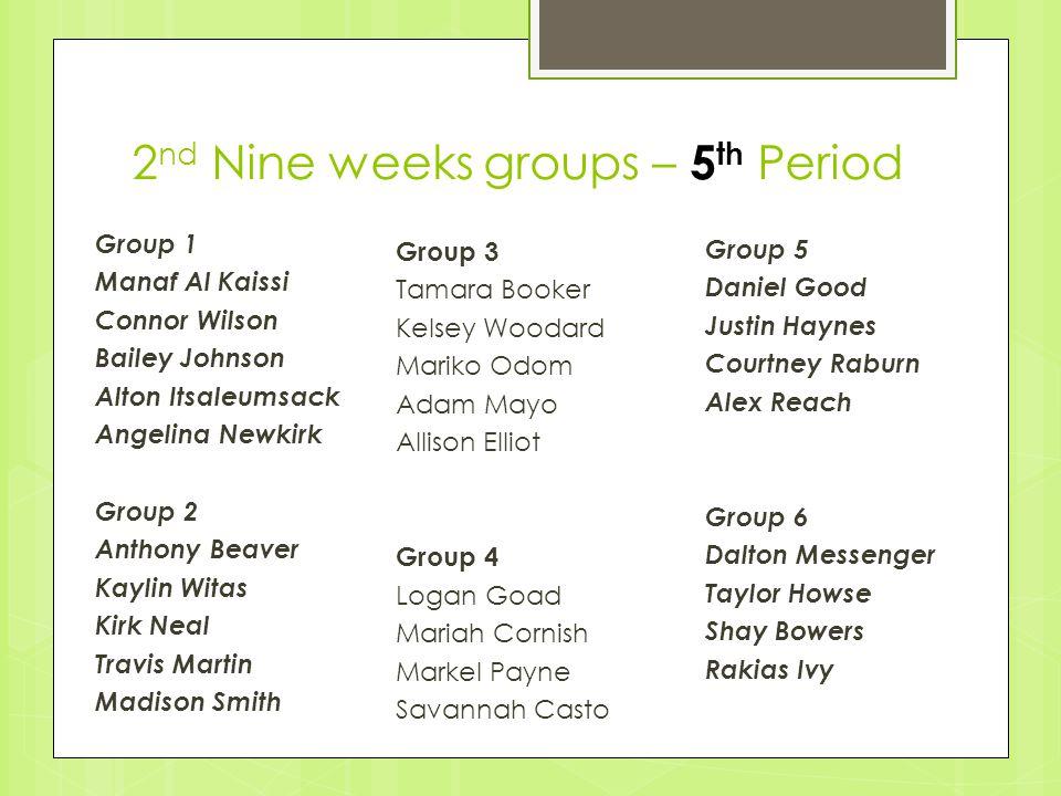 2nd Nine weeks groups – 5th Period