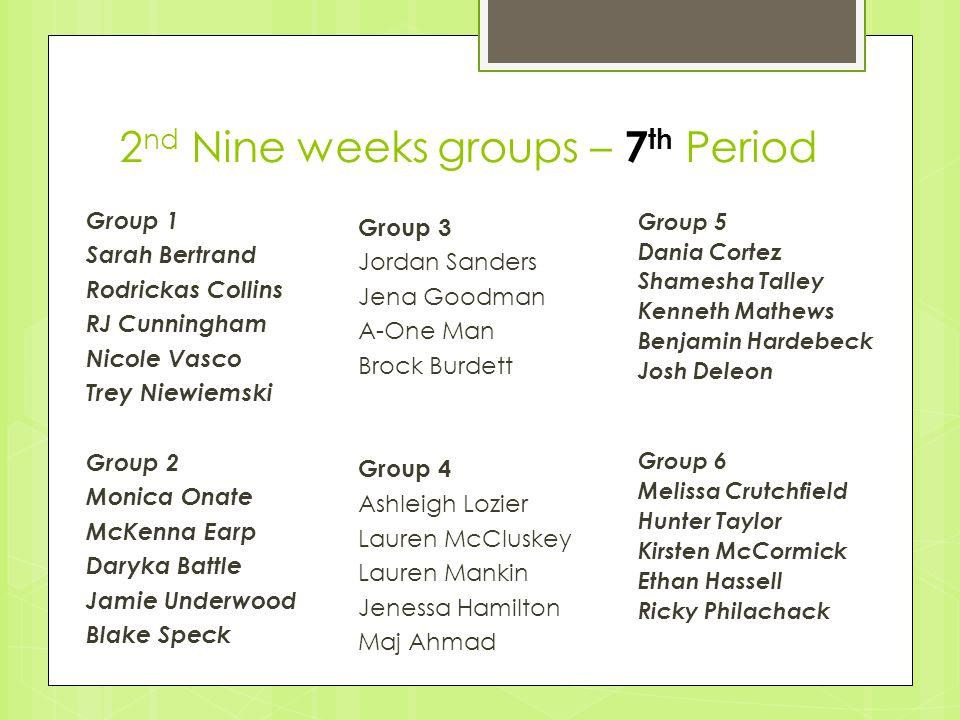2nd Nine weeks groups – 7th Period