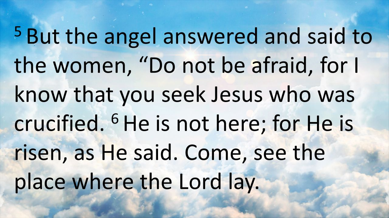5 But the angel answered and said to the women, Do not be afraid, for I know that you seek Jesus who was crucified.