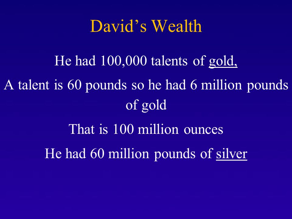 David's Wealth He had 100,000 talents of gold,