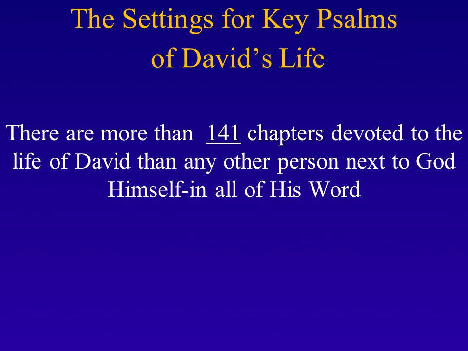 The Settings for Key Psalms of David's Life