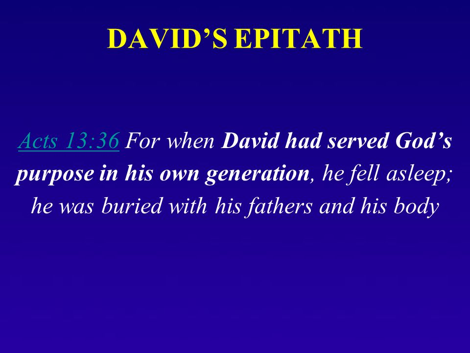 DAVID'S EPITATH