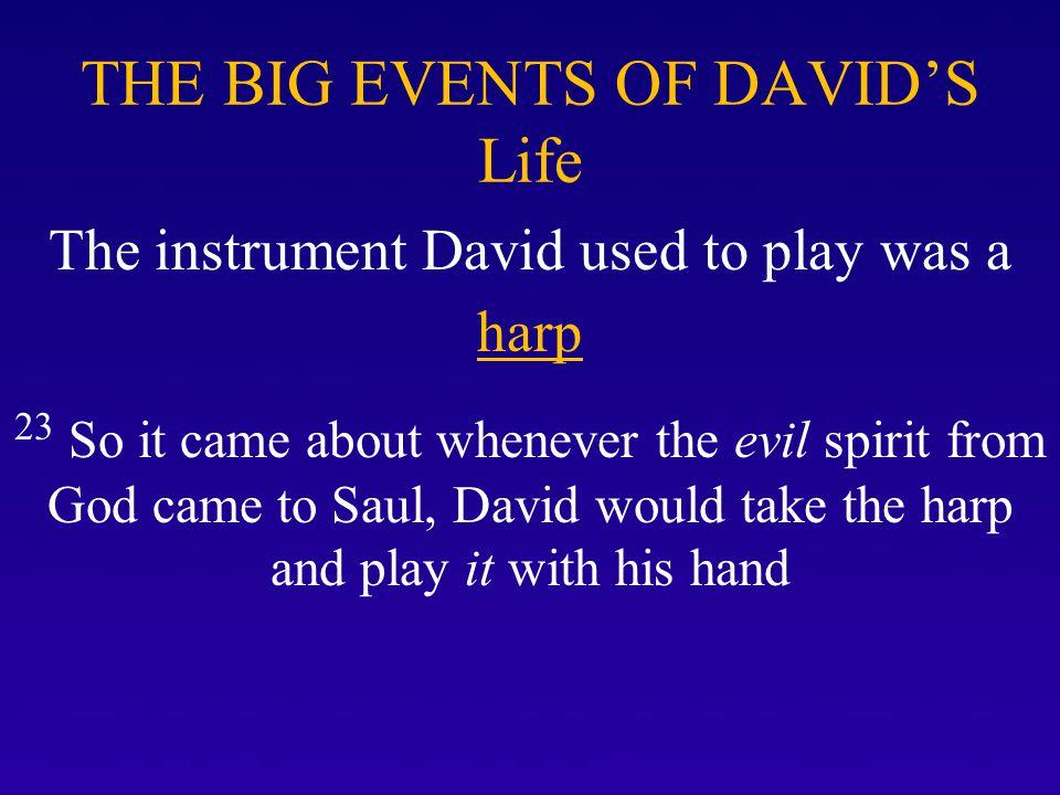 THE BIG EVENTS OF DAVID'S Life