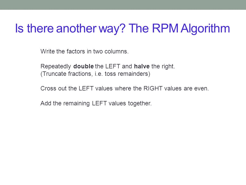 Is there another way The RPM Algorithm
