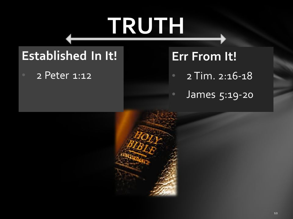 TRUTH Established In It! Err From It! 2 Peter 1:12 2 Tim. 2:16-18