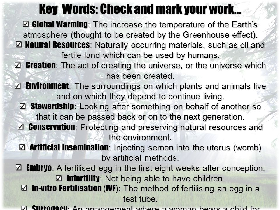 Key Words: Check and mark your work…