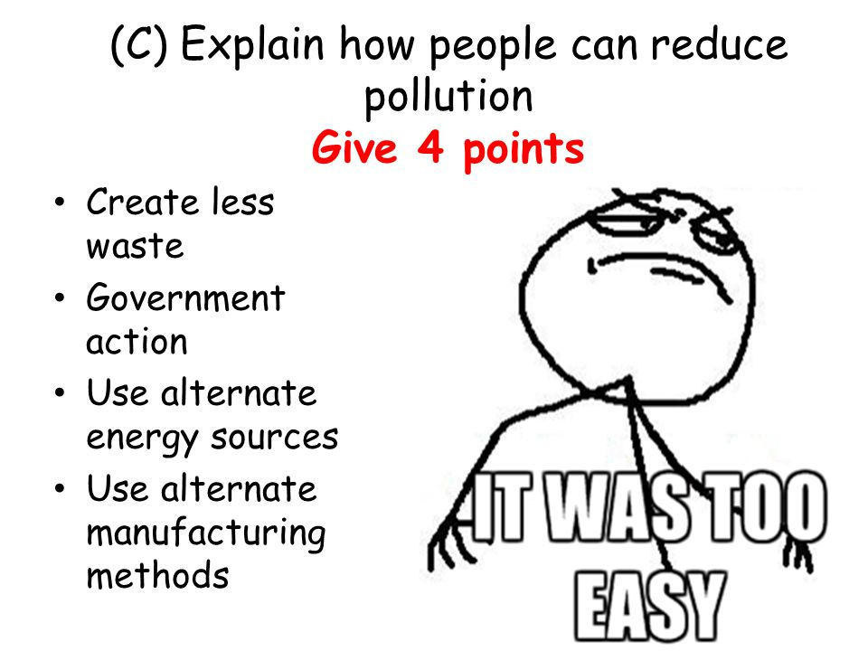 (C) Explain how people can reduce pollution Give 4 points